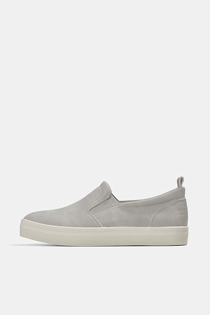 Faux leather slip-on trainers, LIGHT GREY, detail image number 0