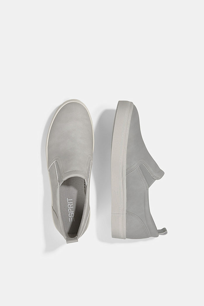 Faux leather slip-on trainers, LIGHT GREY, detail image number 1