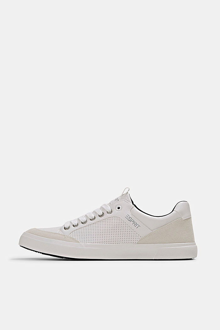 Perforated trainers in faux leather, WHITE, overview
