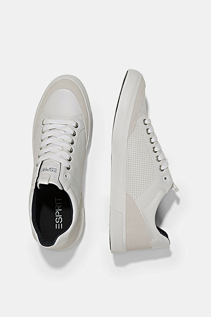 Perforated trainers in faux leather, WHITE, detail image number 1