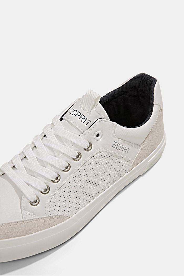 Perforerede sneakers i læderlook, WHITE, detail image number 4