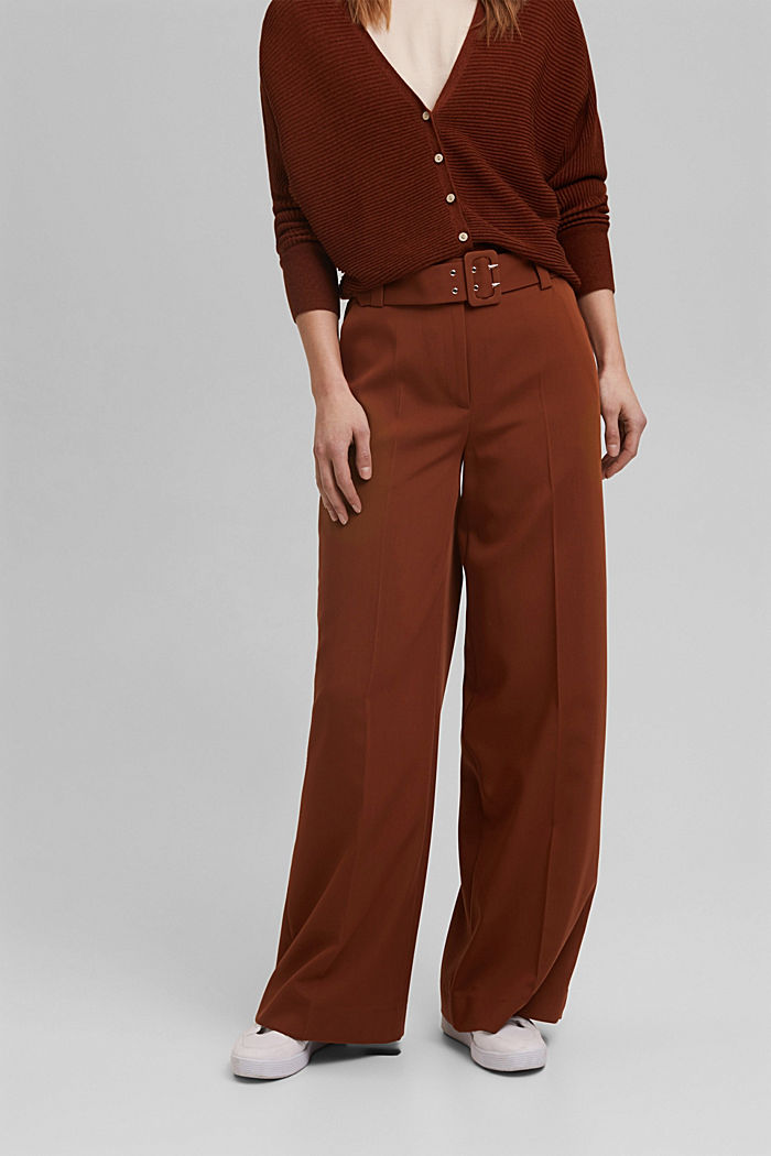 High-cut trousers with a belt, TOFFEE, detail image number 0