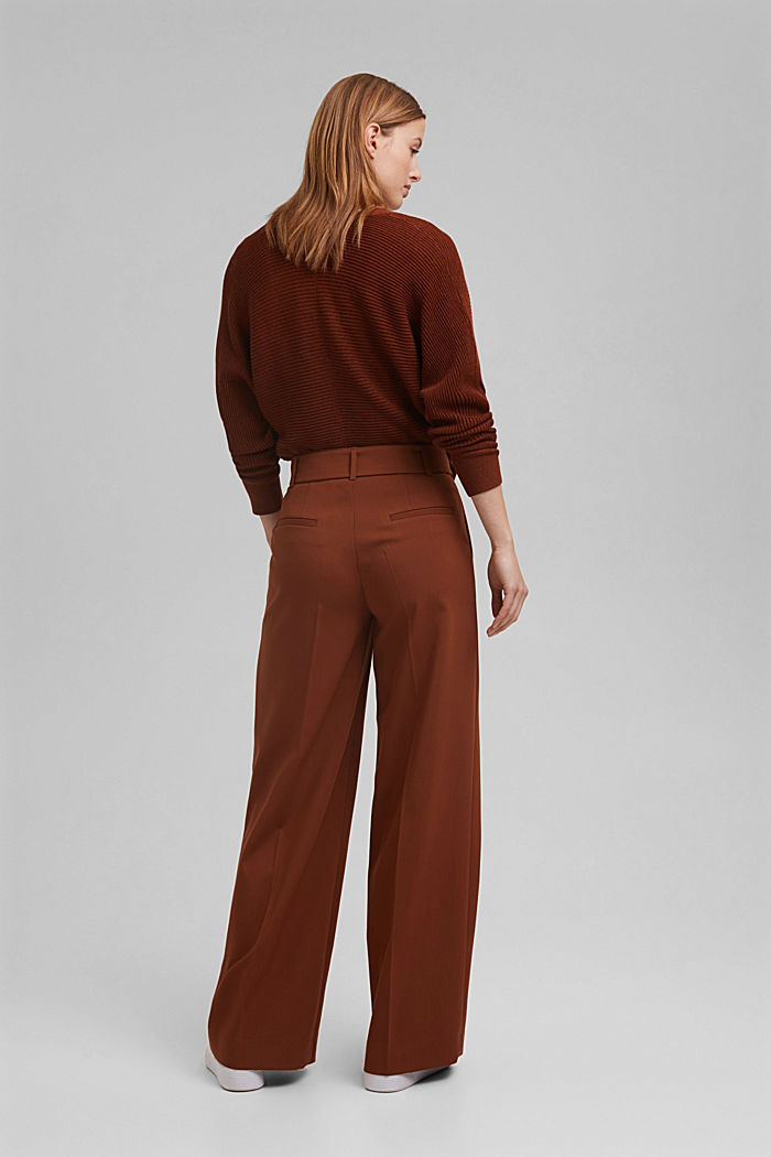 High-cut trousers with a belt, TOFFEE, detail image number 3
