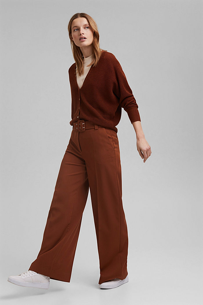 High-cut trousers with a belt, TOFFEE, detail image number 6