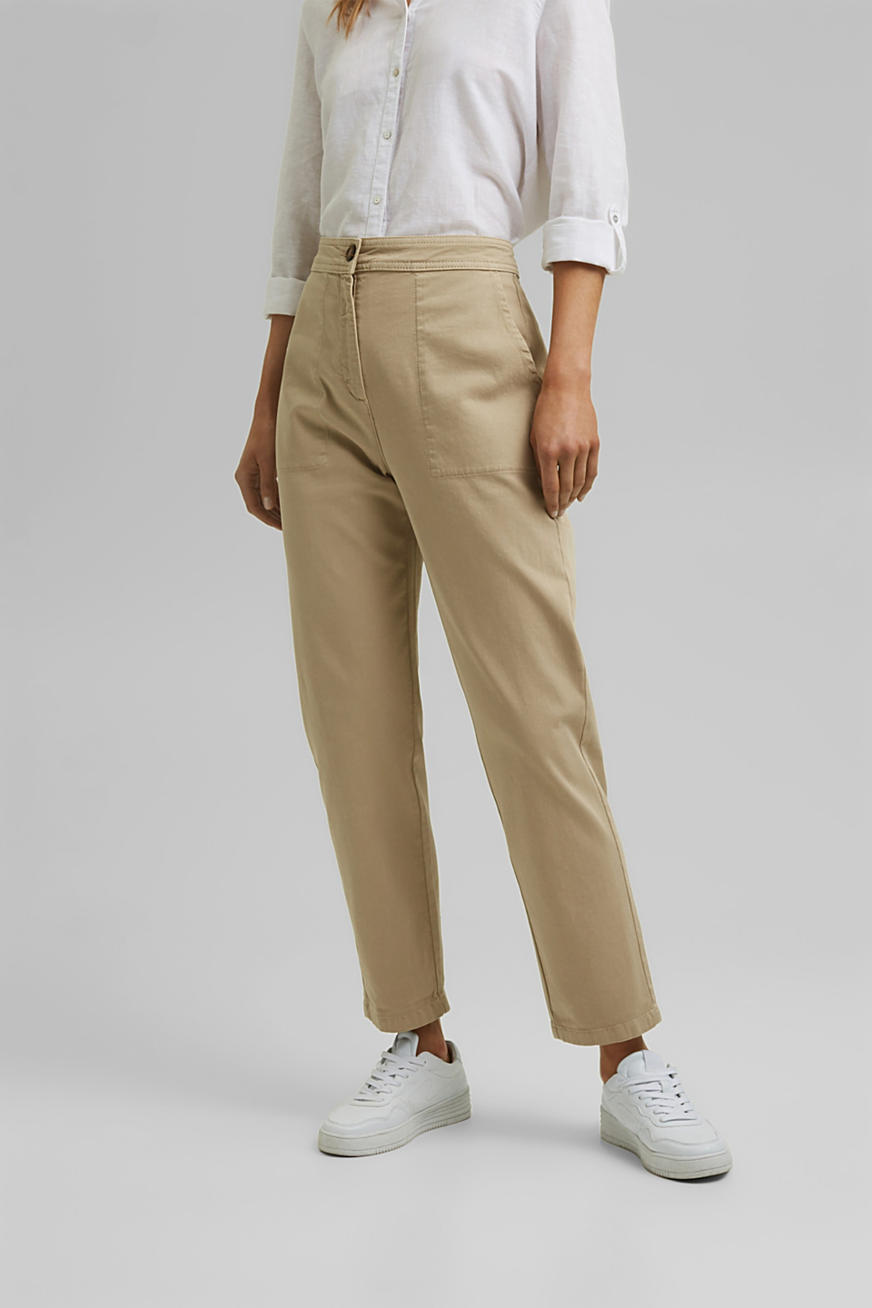 High-rise, ankle-length trousers made of organic cotton
