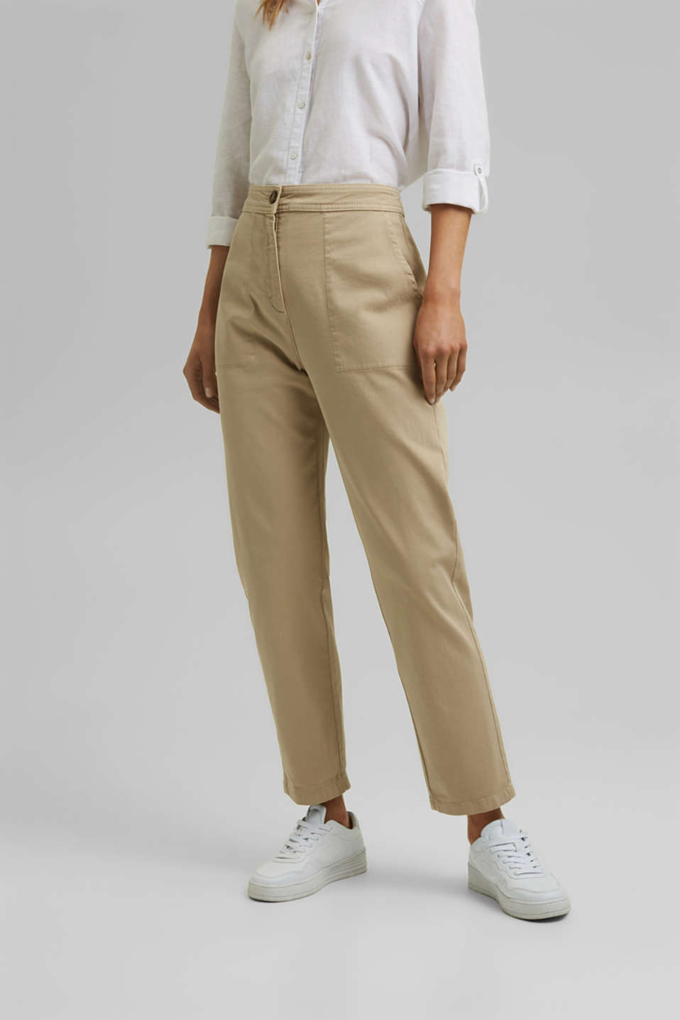 Esprit - High-rise, ankle-length trousers made of organic cotton