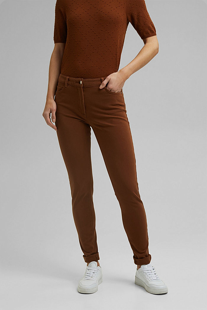 Two-way stretch trousers with organic cotton, TOFFEE, detail image number 0