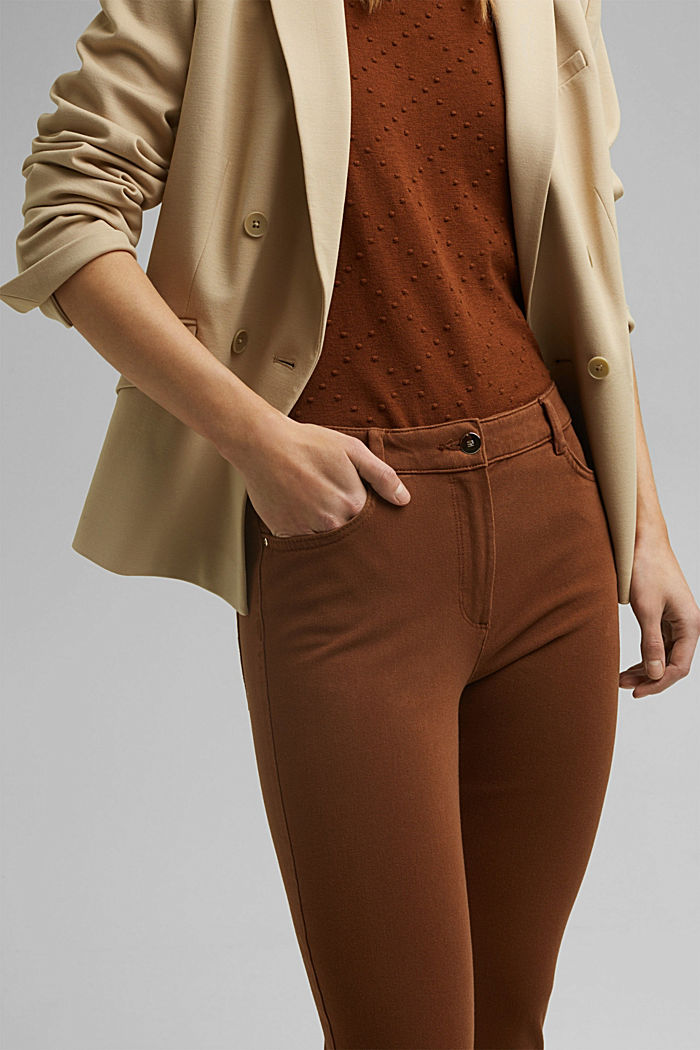 Two-way stretch trousers with organic cotton, TOFFEE, detail image number 2
