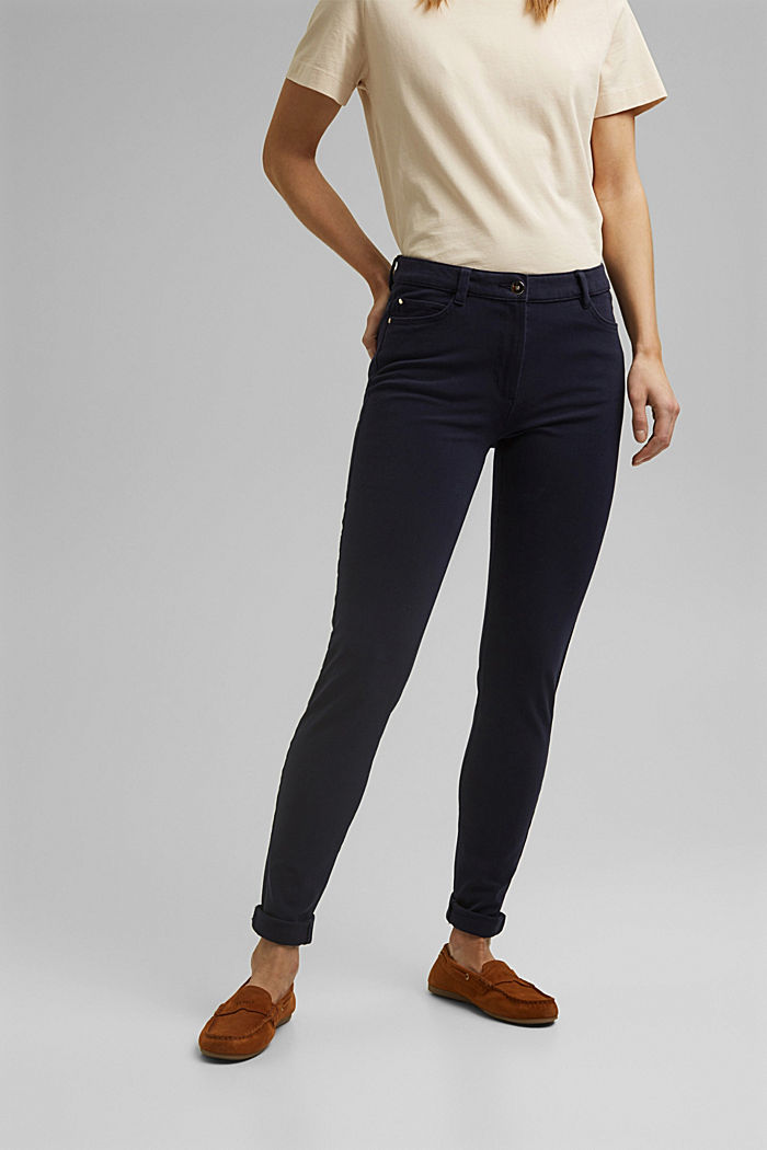 Two-way stretch trousers with organic cotton, NAVY, detail image number 0