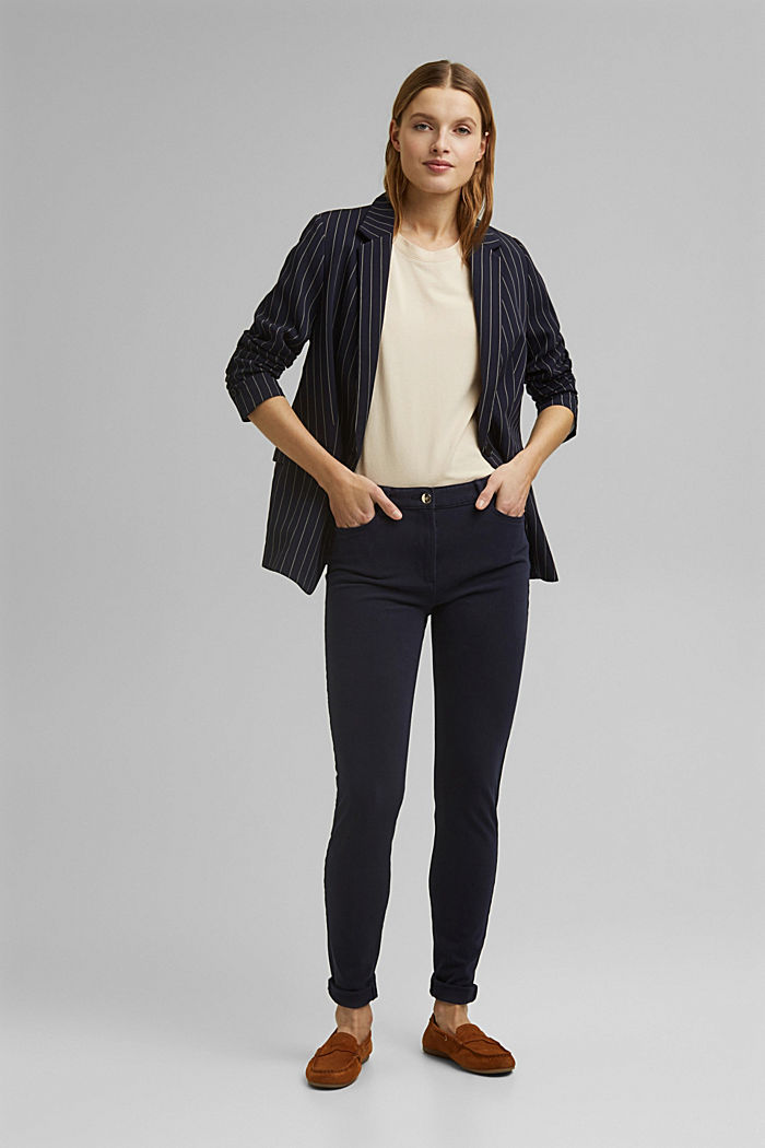 Two-way stretch trousers with organic cotton, NAVY, detail image number 1