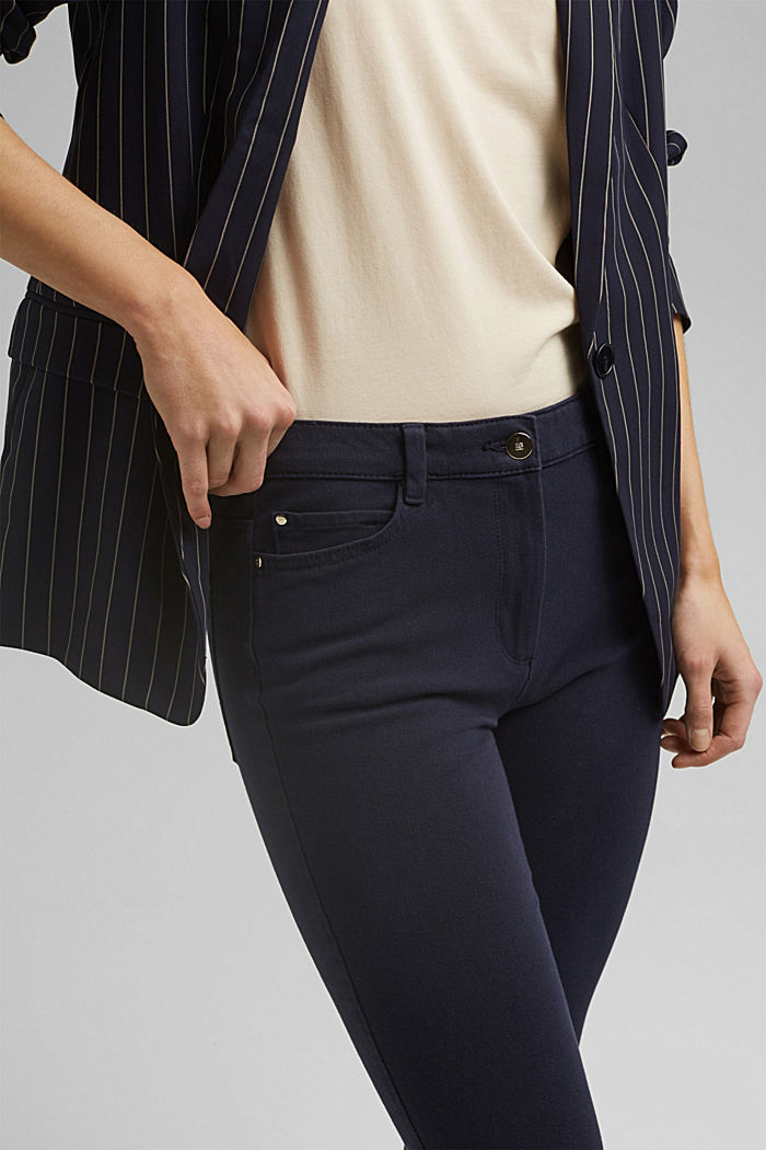 Two-way stretch trousers with organic cotton, NAVY, detail image number 2