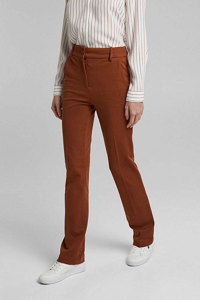 High-rise jersey trousers, TOFFEE, detail image number 0