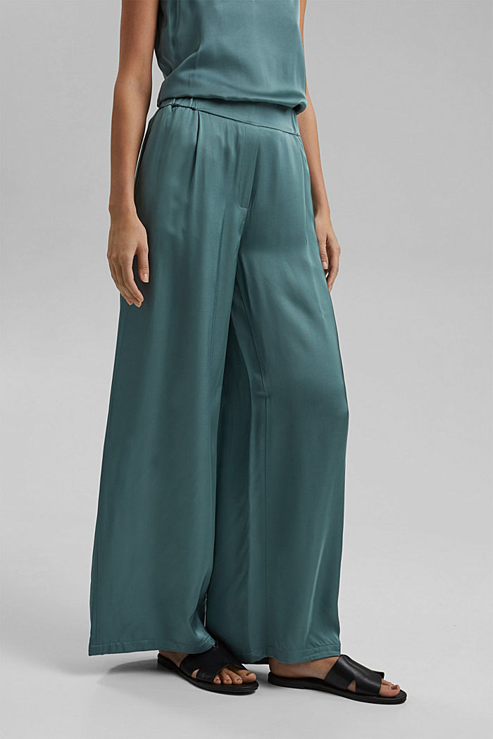 Satin palazzo trousers with an elasticated waistband, DARK TURQUOISE, detail image number 0