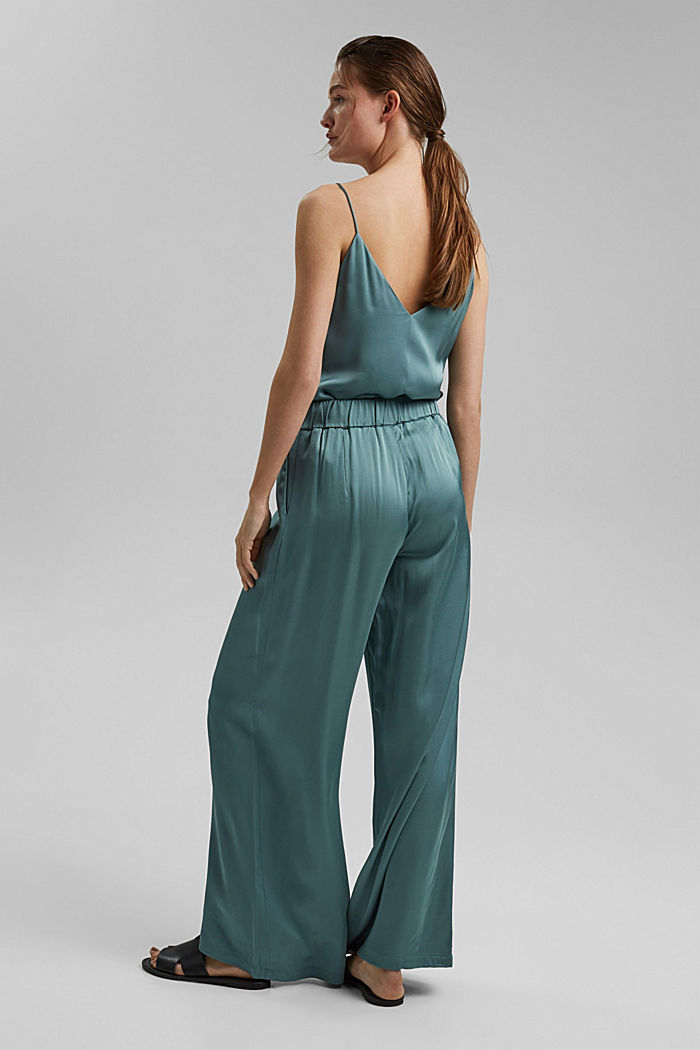 Satin palazzo trousers with an elasticated waistband, DARK TURQUOISE, detail image number 3
