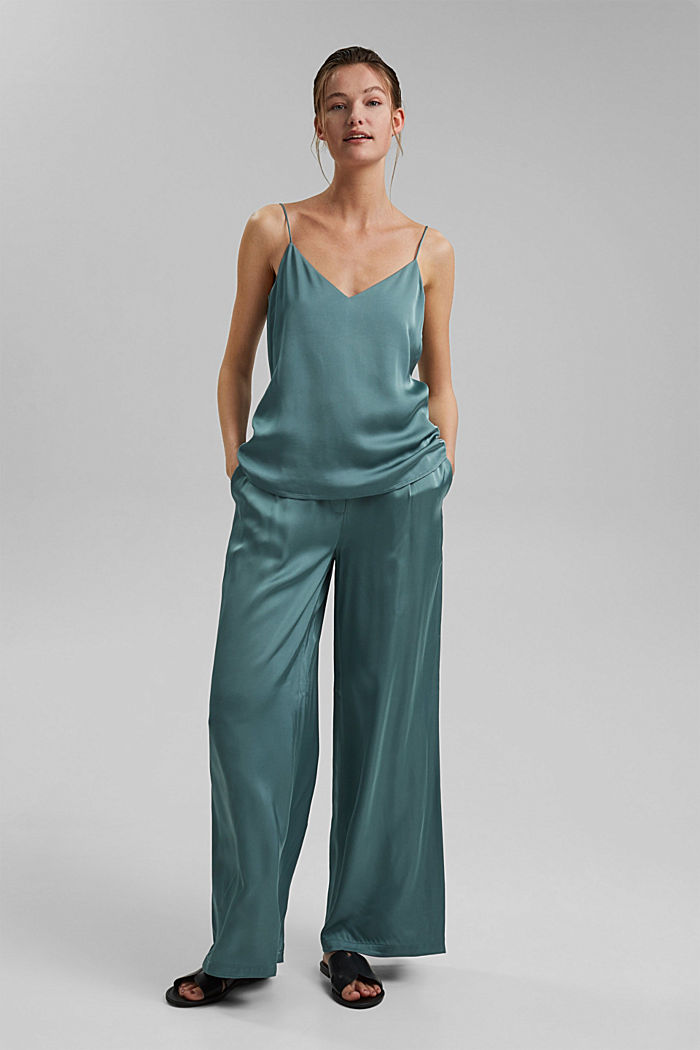 Satin palazzo trousers with an elasticated waistband, DARK TURQUOISE, detail image number 1