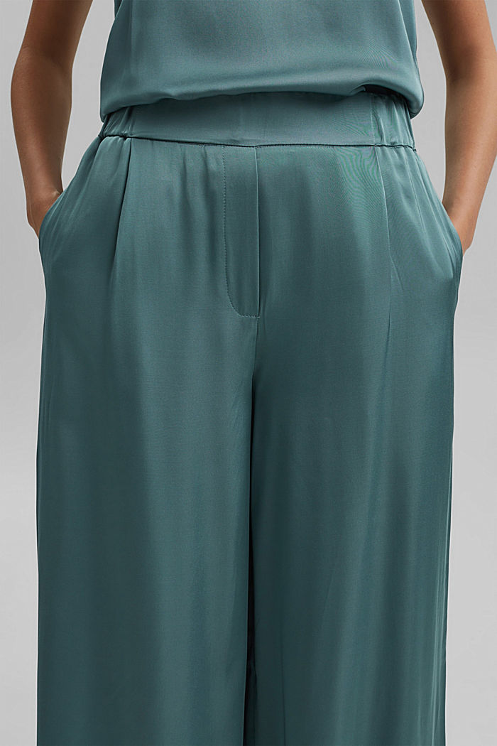 Satin palazzo trousers with an elasticated waistband, DARK TURQUOISE, detail image number 2
