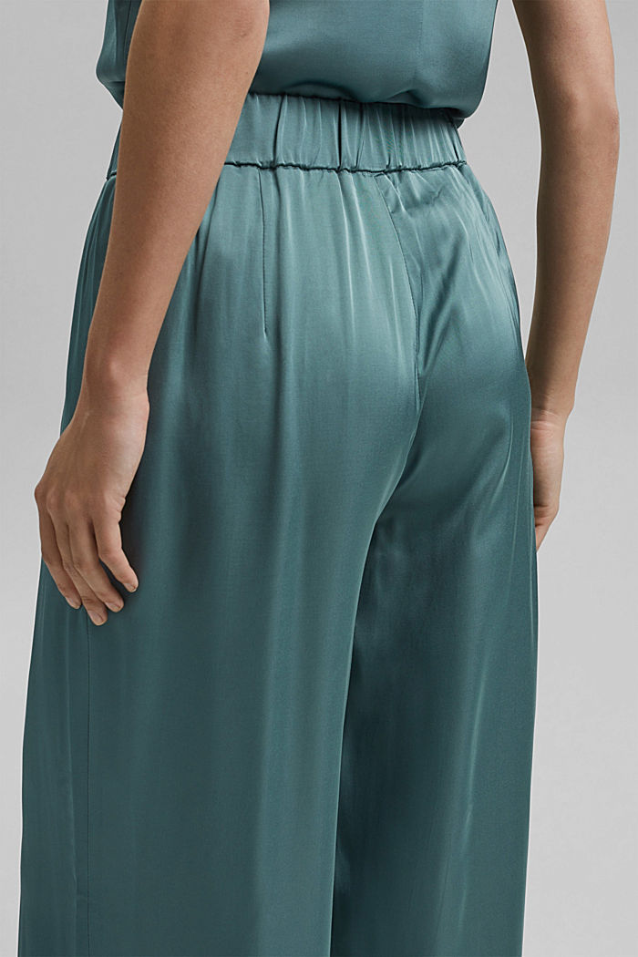 Satin palazzo trousers with an elasticated waistband, DARK TURQUOISE, detail image number 5