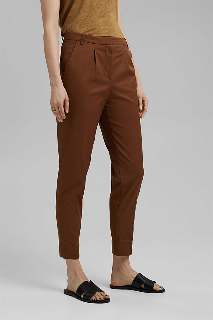 Stretch-Chino mit Lycra xtra life™, TOFFEE, detail image number 0