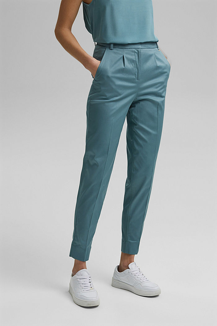 Stretch chinos with Lycra xtra life™, DARK TURQUOISE, detail image number 0