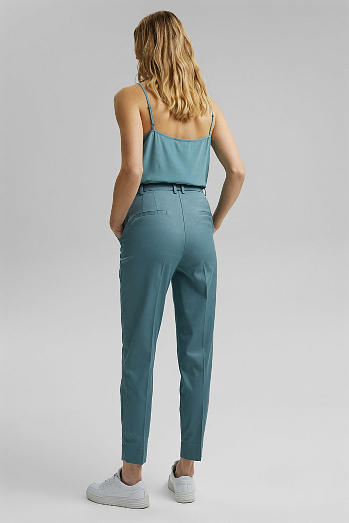Stretch chinos with Lycra xtra life™, DARK TURQUOISE, detail image number 3