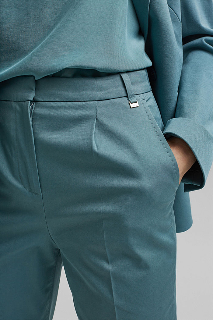Stretch chinos with Lycra xtra life™, DARK TURQUOISE, detail image number 2