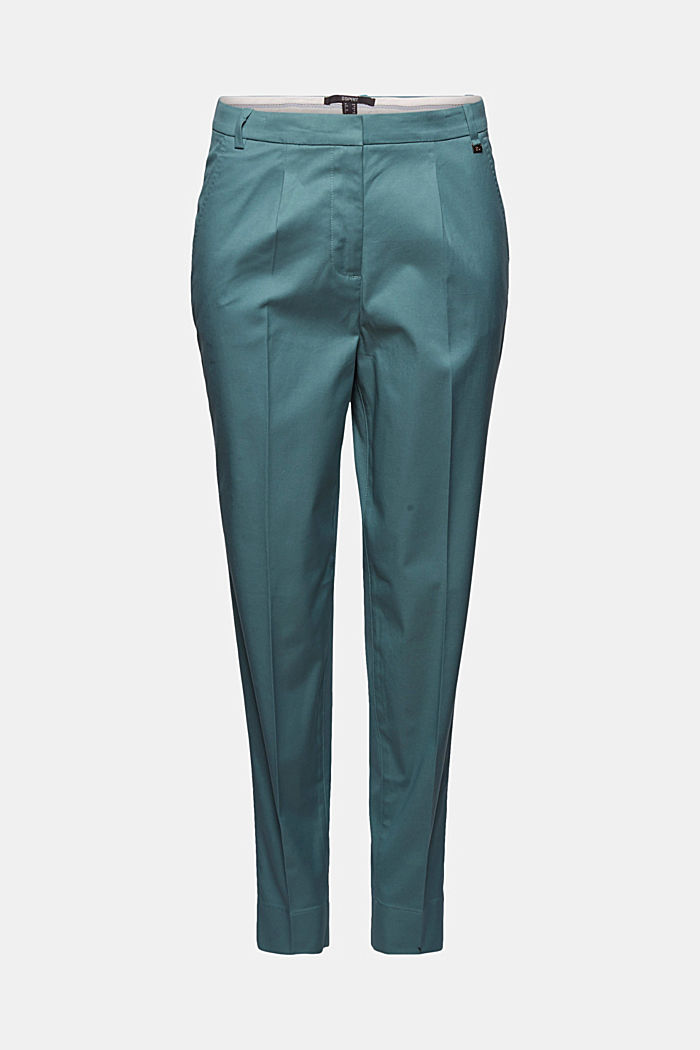 Stretch chinos with Lycra xtra life™, DARK TURQUOISE, detail image number 7