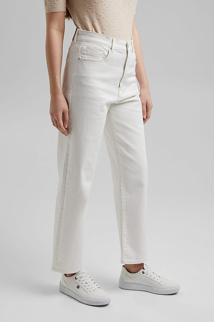 Fashionable, ankle-length jeans containing organic cotton, OFF WHITE, detail image number 1