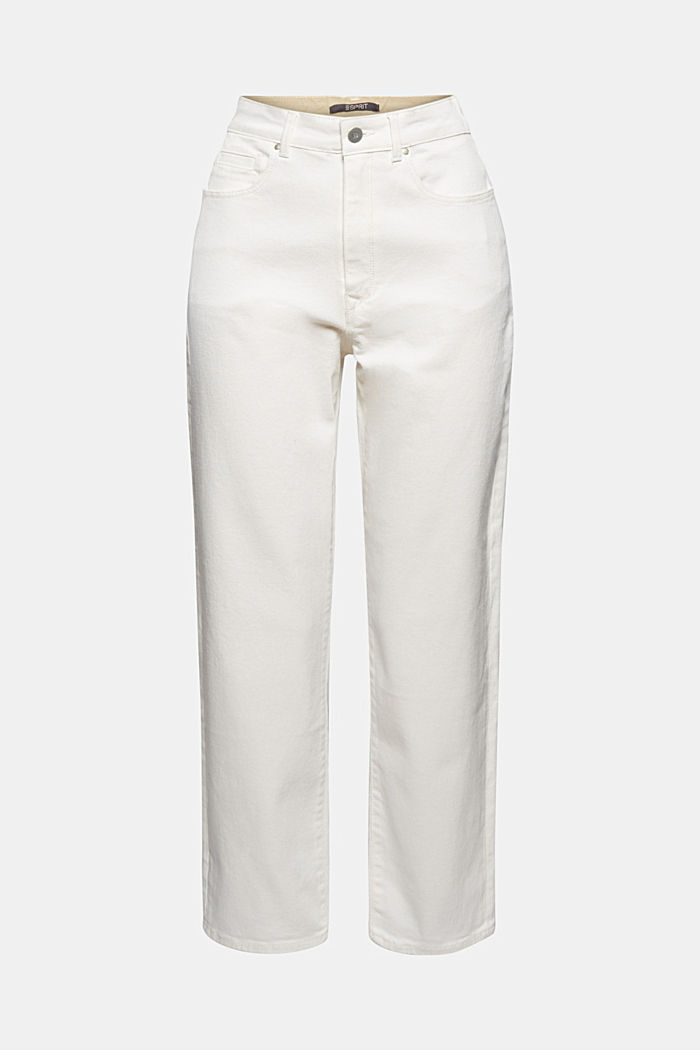 Fashionable, ankle-length jeans containing organic cotton