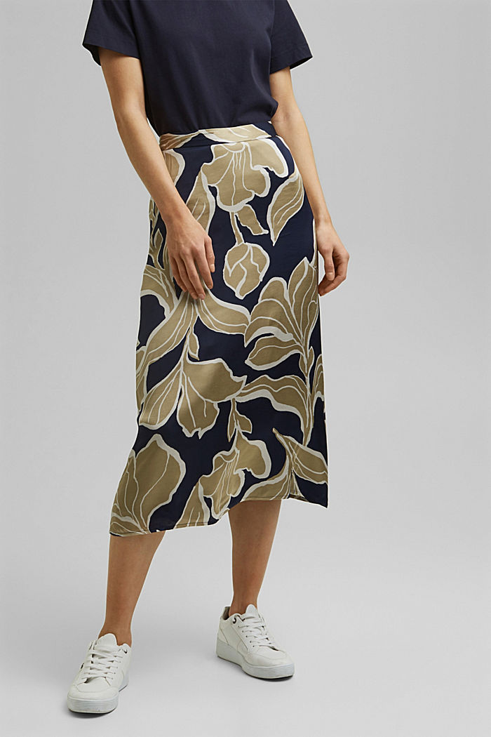 Floral print satin skirt in a midi length, NAVY, detail image number 0