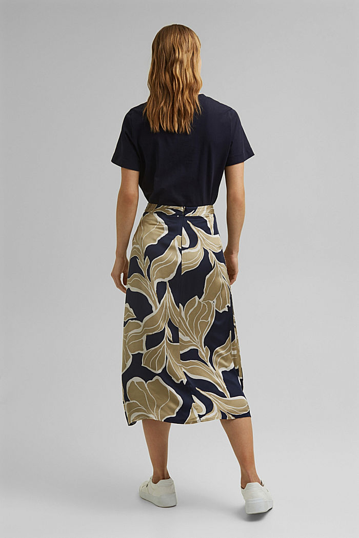 Floral print satin skirt in a midi length, NAVY, detail image number 3