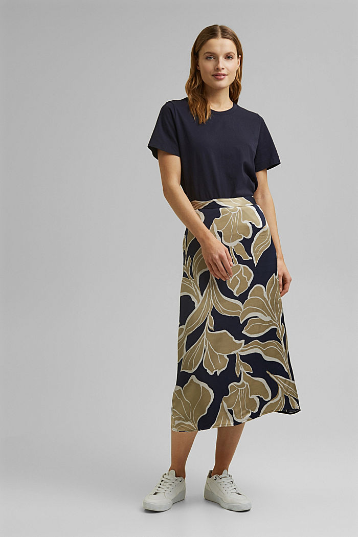 Floral print satin skirt in a midi length, NAVY, detail image number 6