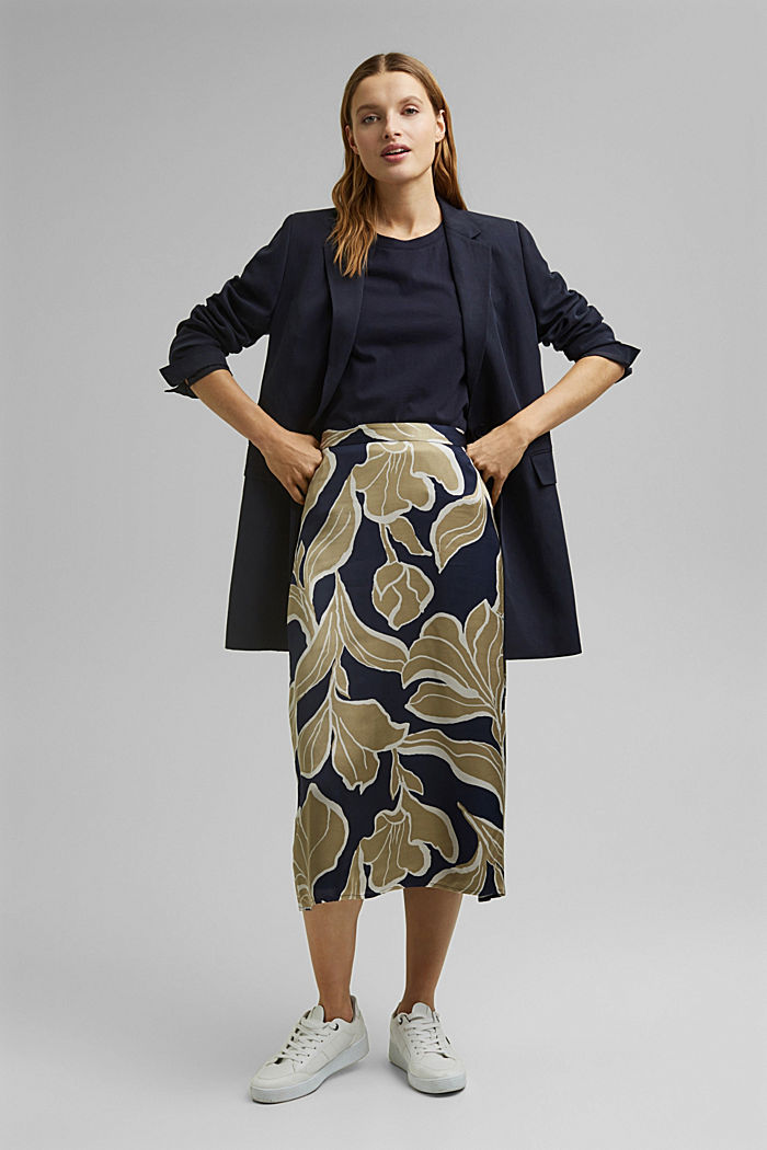 Floral print satin skirt in a midi length, NAVY, detail image number 1