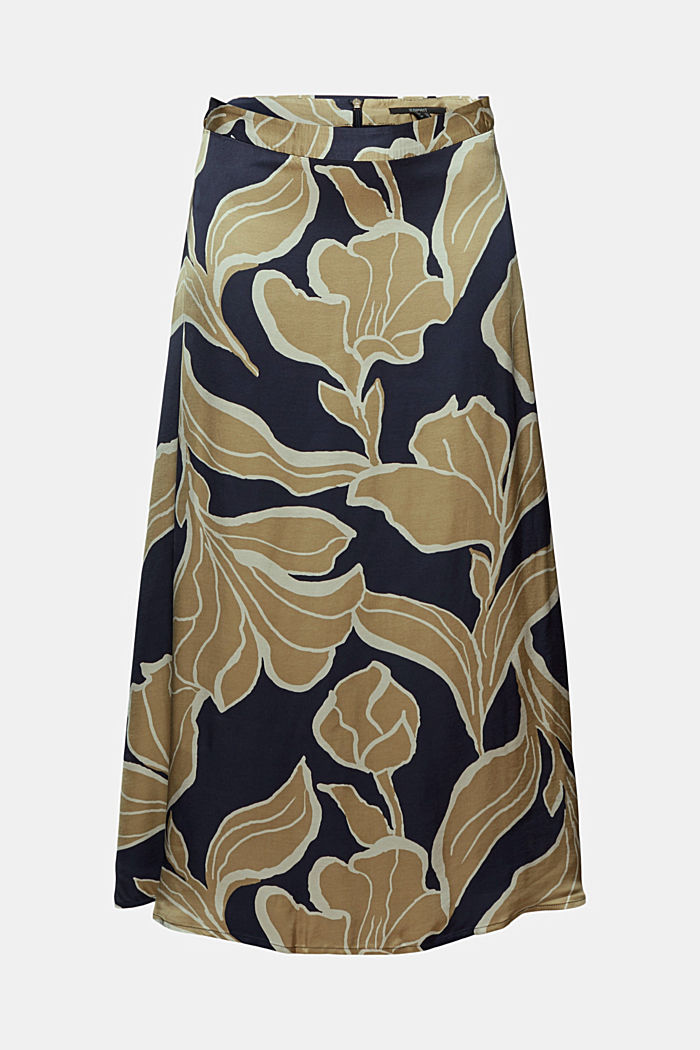 Floral print satin skirt in a midi length, NAVY, detail image number 7
