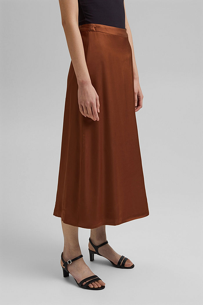 Midi skirt featuring LENZING™ ECOVERO™, TOFFEE, detail image number 0