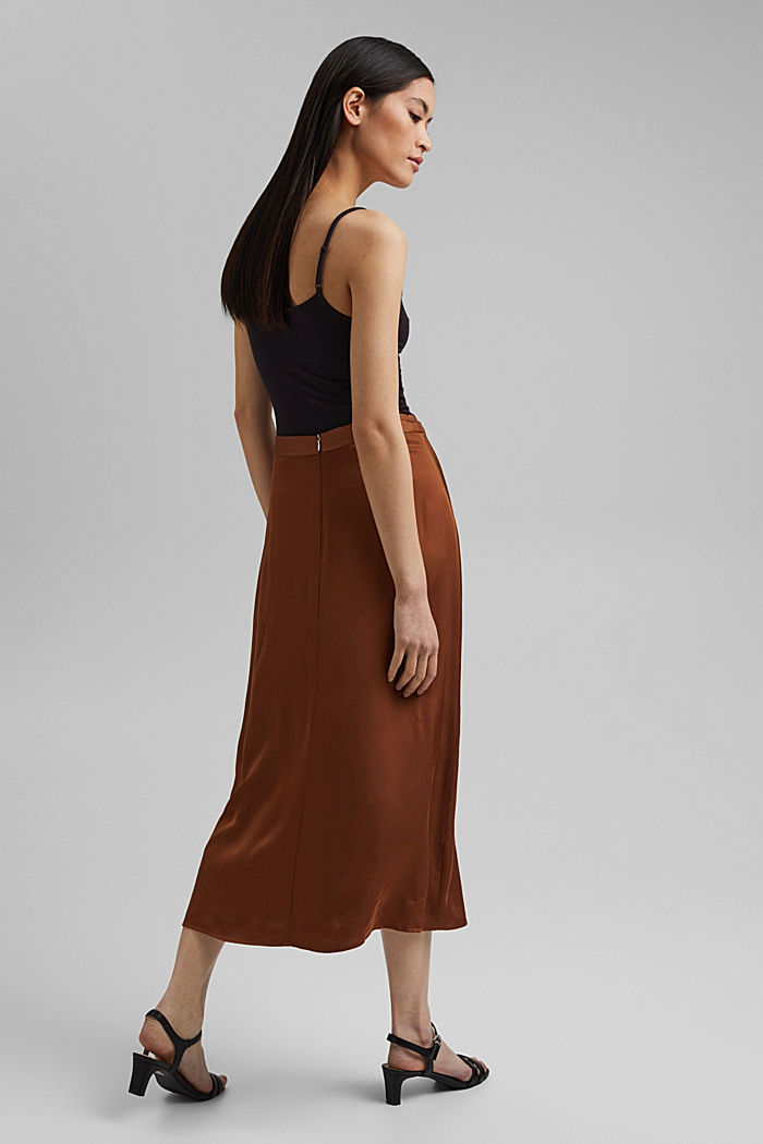 Midi skirt featuring LENZING™ ECOVERO™, TOFFEE, detail image number 3