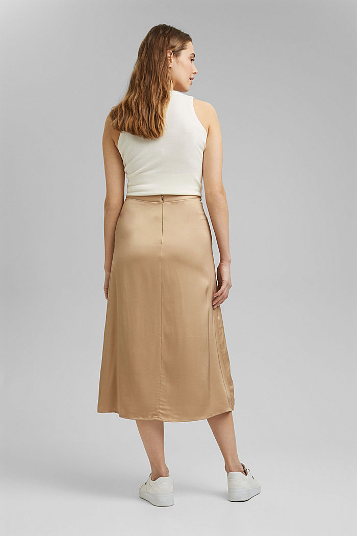 Midi-nederdel med LENZING™ ECOVERO™, SAND, detail image number 3