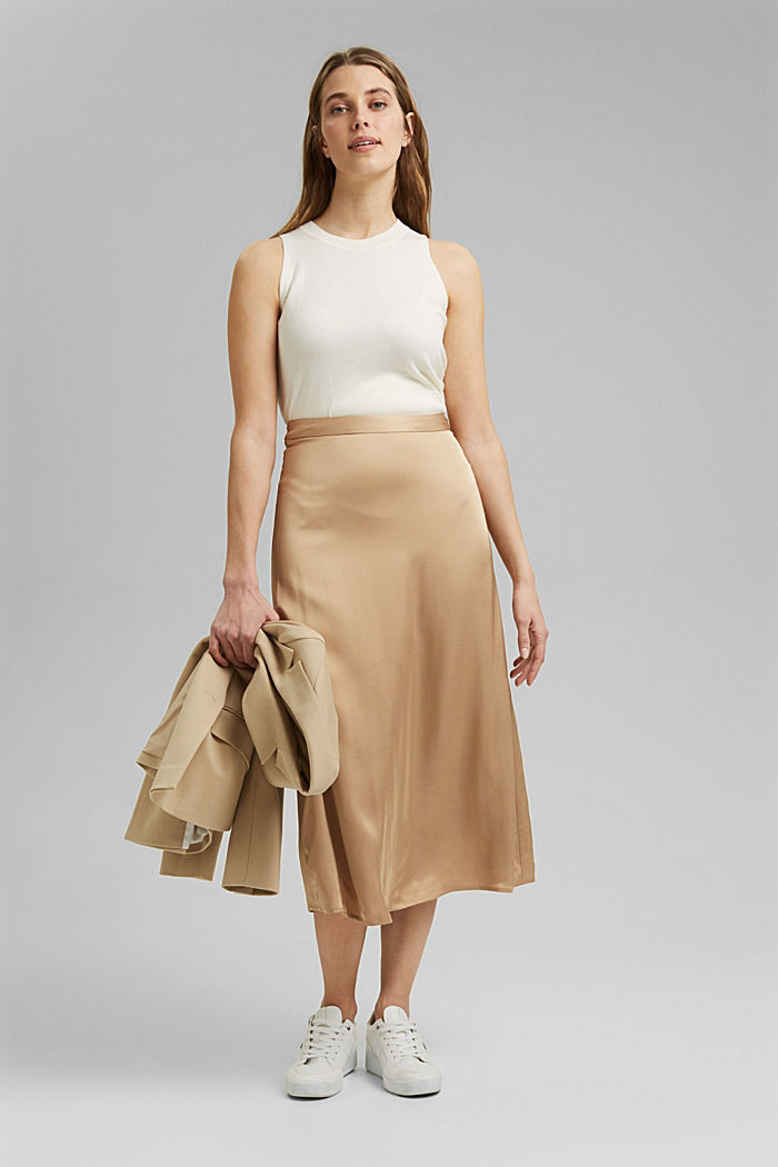 Midi-nederdel med LENZING™ ECOVERO™, SAND, detail image number 1