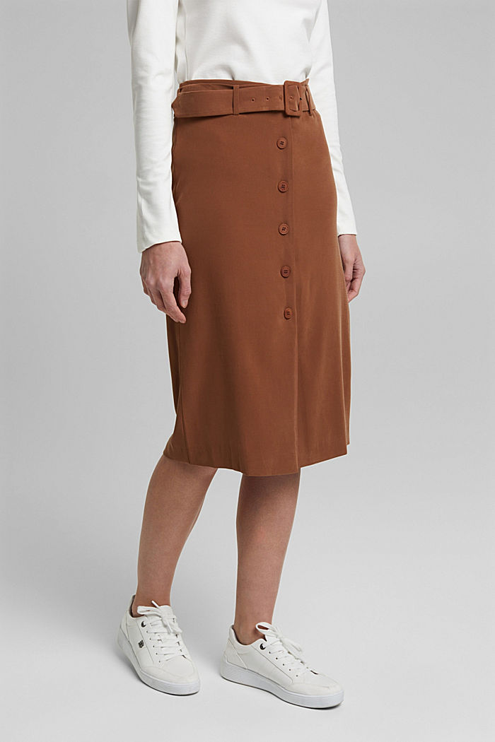 Pencil skirt with LENZING™ ECOVERO™, TOFFEE, detail image number 0