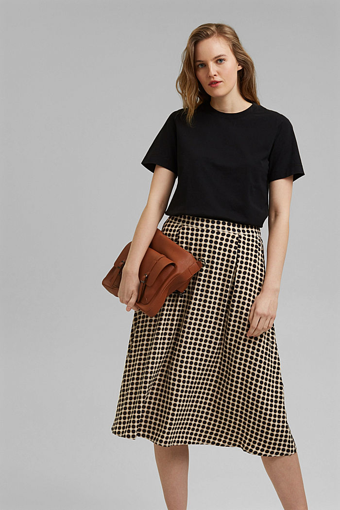Midi skirt with a graphic polka dot print, NAVY, detail image number 0
