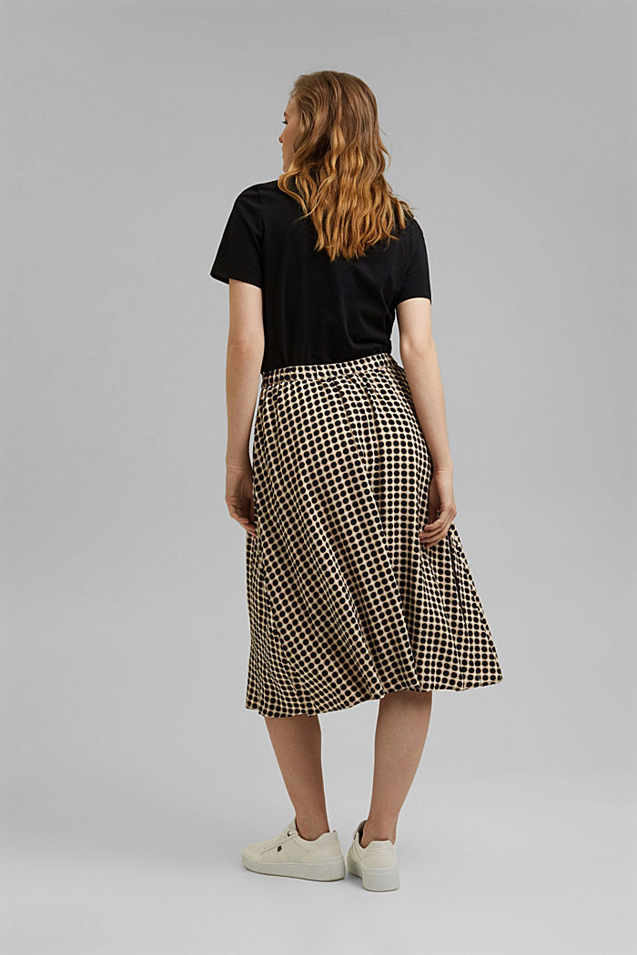 Midi skirt with a graphic polka dot print, NAVY, detail image number 3