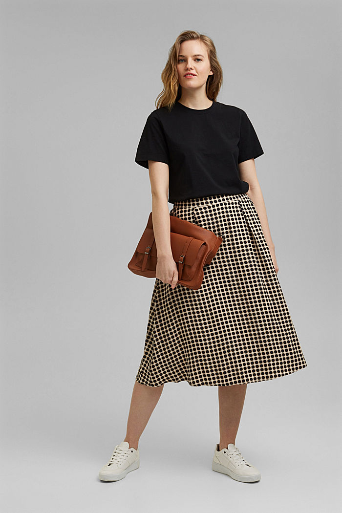 Midi skirt with a graphic polka dot print, NAVY, detail image number 1