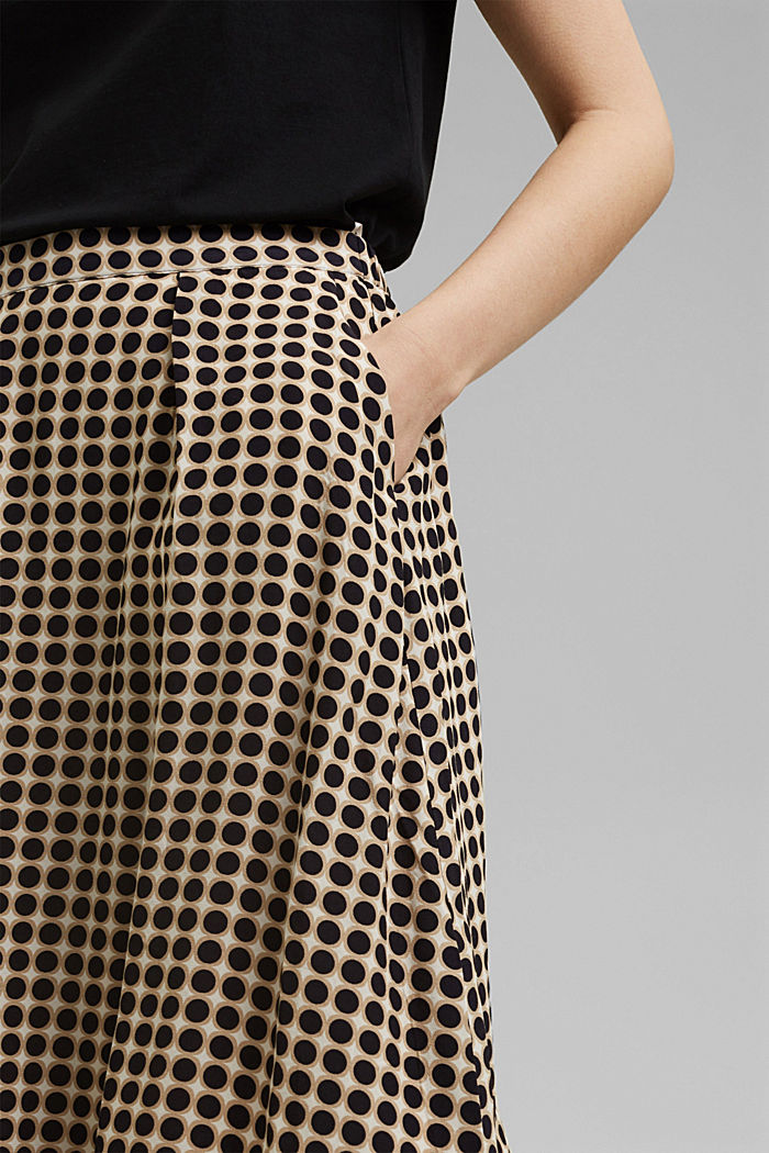 Midi skirt with a graphic polka dot print, NAVY, detail image number 2