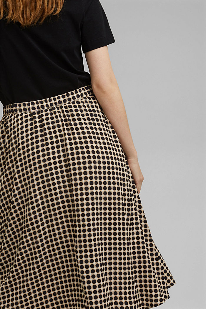 Midi skirt with a graphic polka dot print, NAVY, detail image number 5