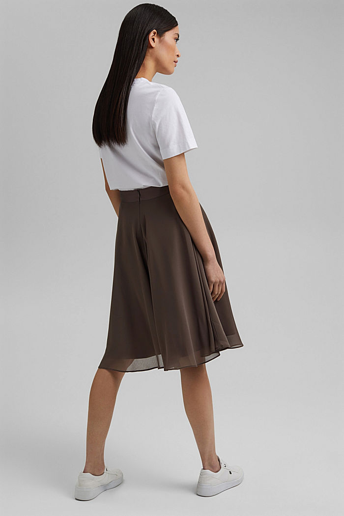 Recycled: Chiffon skirt with a satin waistband, TAUPE, detail image number 3