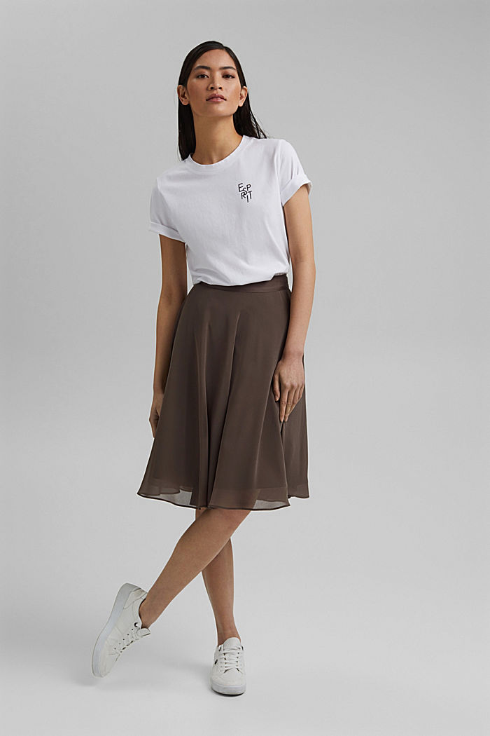 Recycled: Chiffon skirt with a satin waistband, TAUPE, detail image number 1