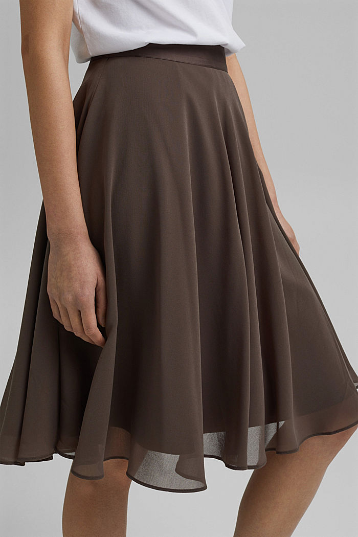 Recycled: Chiffon skirt with a satin waistband, TAUPE, detail image number 2