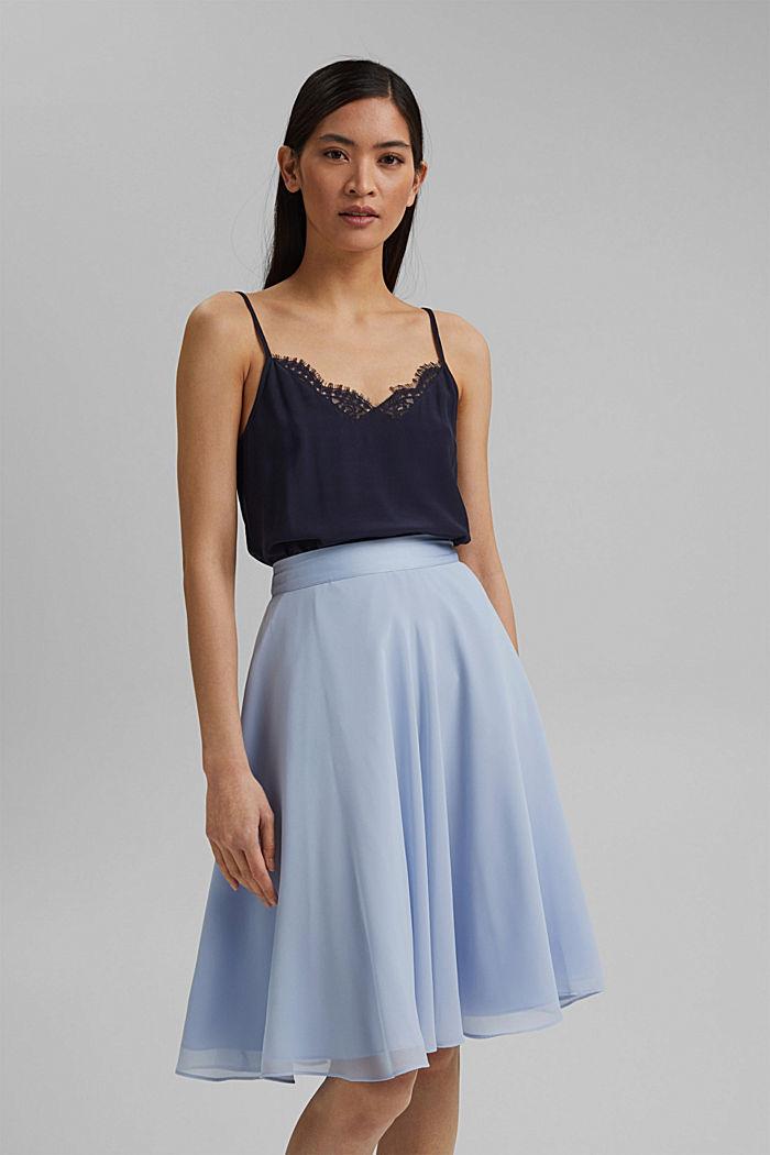 Reciclada: falda de gasa con remates de satén, PASTEL BLUE, detail image number 0