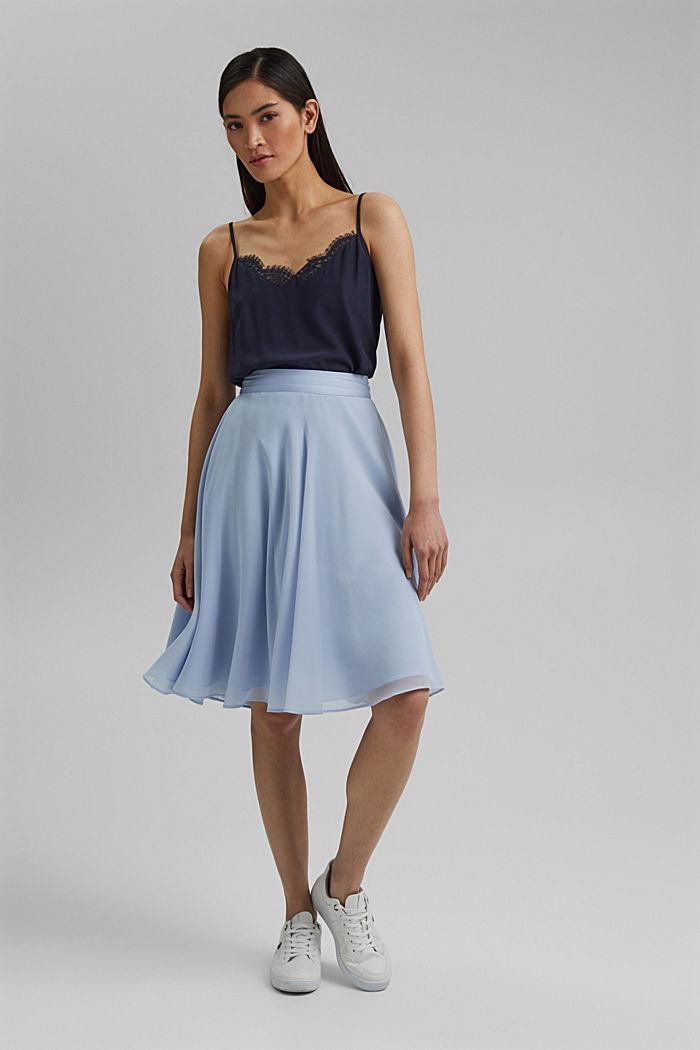 Reciclada: falda de gasa con remates de satén, PASTEL BLUE, detail image number 1
