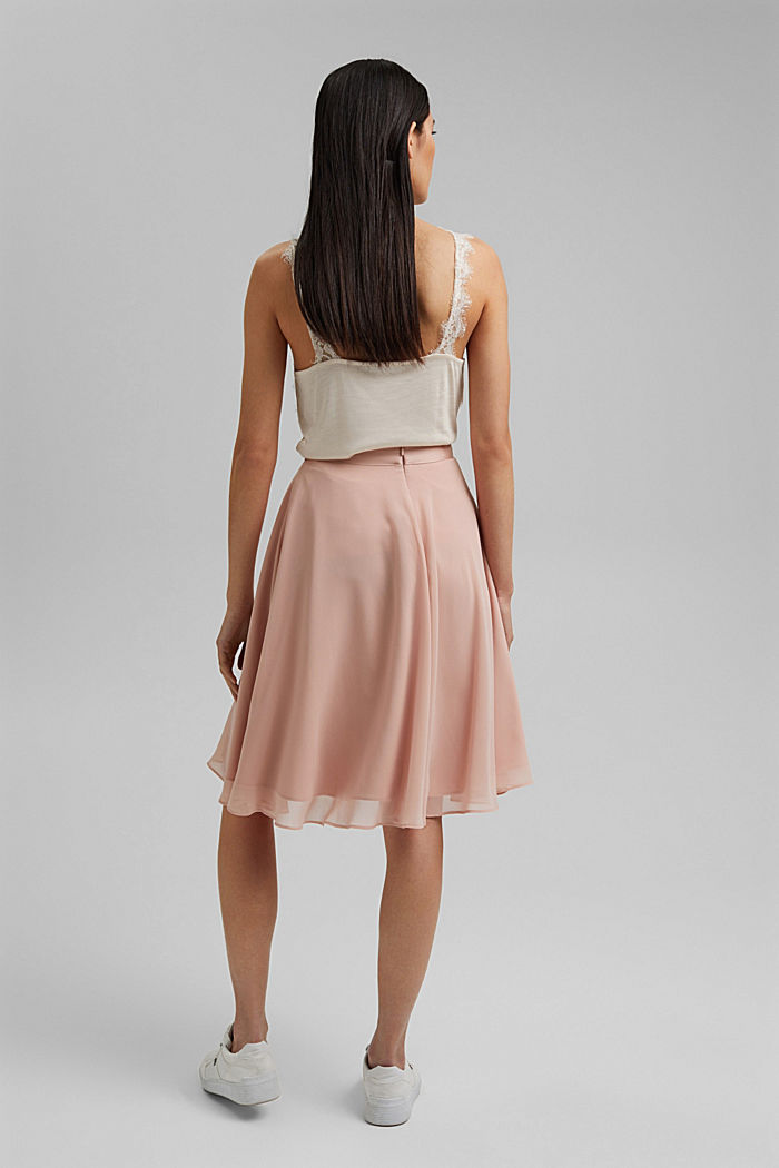 Recycled: Chiffon skirt with a satin waistband, NUDE, detail image number 3