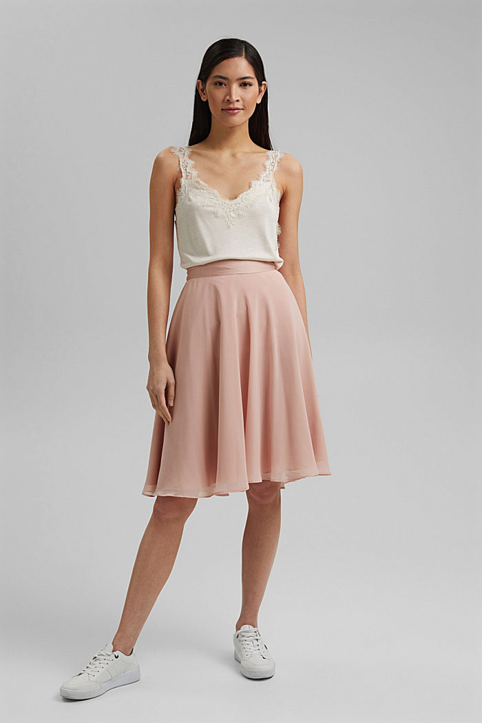 Recycled: Chiffon skirt with a satin waistband, NUDE, detail image number 1